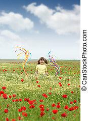 weinig; niet zo(veel), wildflowers, weide, meisje, vrolijke