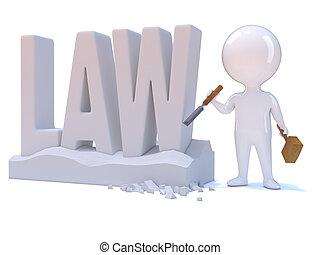 weinig; niet zo(veel), woord, kerft, 3d, wet, man