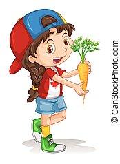 weinig; niet zo(veel), wortel, meisje, vasthouden