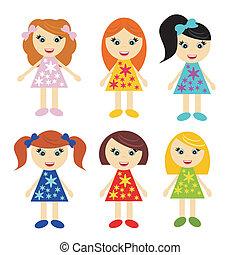 weinig; niet zo(veel), zes, meiden, witte