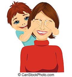 weinig; niet zo(veel), zijn, haar, bedekking, moeder, eyes, zoon, handen, glimlachen gelukkig