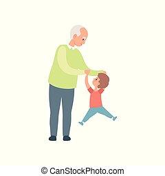 weinig; niet zo(veel), zijn, hebben, kleinzoon, uitgeven, samen, illustratie, grootvader, vector, opa, achtergrond, tijd, plezier, witte , spelend