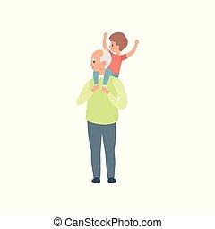 weinig; niet zo(veel), zijn, kleinzoon, schouders, uitgeven, verdragend, illustratie, grootvader, vector, opa, achtergrond, tijd, witte , spelend