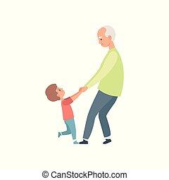 weinig; niet zo(veel), zijn, vasthouden, kleinzoon, uitgeven, illustratie, grootmoeder, vector, opa, achtergrond, tijd, witte , handen, spelend