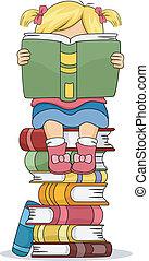 weinig; niet zo(veel), zittende , boekjes , stapel, girl lezen, boek, geitje