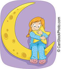 weinig; niet zo(veel), zittende , maan, meisje, pajamas, geitje