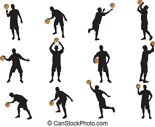 weinig, silhouettes, basketbal, meer