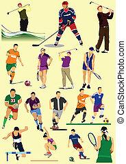 weinig, soorten, van, sportende, games., voetbal