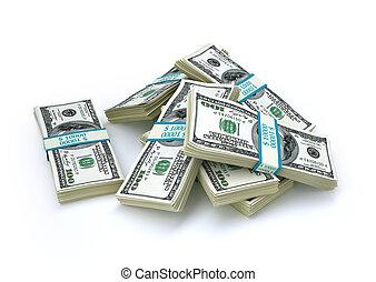 weinig, usd., geld., honderd, wads, groep