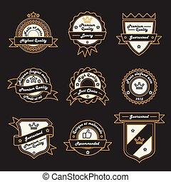 weinlese, abzeichen, satz, etikett, logo