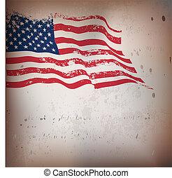 weinlese, amerikanische , textured, fahne, hintergrund.