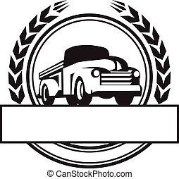 weinlese, auf, lastwagen, retro, kreuzhacke, schwarz, weißes