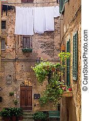 weinlese, balkon, straße, in, italien