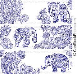 weinlese, banner, satz, ethnisch, elefanten