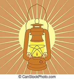 weinlese, bergwerk, petroleumlampe, aus, gelber , sonnenaufgang, strahlen