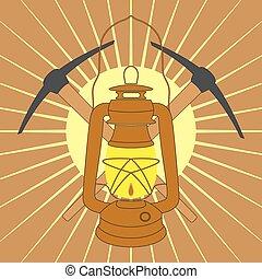 weinlese, bergwerk, petroleumlampe, mit, spitzhacken, aus, gelber , sonnenaufgang, strahlen