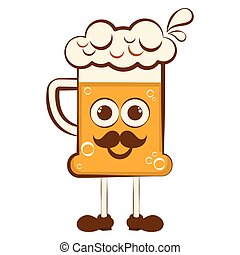 weinlese, bier, zeichen, karikatur, glücklich