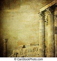 weinlese, bild, von, griechische spalten, akropolis, athen,...