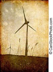 weinlese, bild, von, windmühle, stehende , auf, der, feld