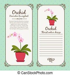 weinlese, blume, etikett, orchidee