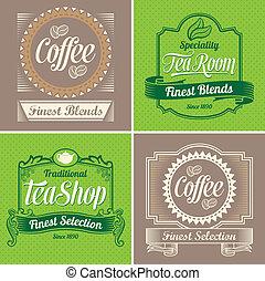 weinlese, bohnenkaffee, und, tee, etiketten