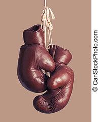 weinlese, boxhandschuhe, hängender