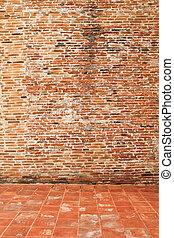 weinlese, brickwall, mit, boden, in, der, tempel
