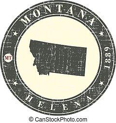 weinlese, briefmarke, mit, landkarte, von, montana