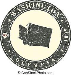 weinlese, briefmarke, mit, landkarte, von, washington.