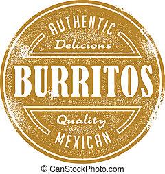 weinlese, burrito, mexikanische nahrung, briefmarke