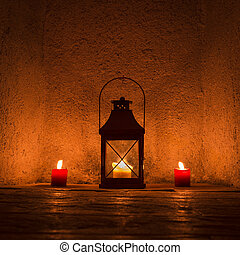 weinlese, candlelit, in, metall, laterne, stehende , in,...