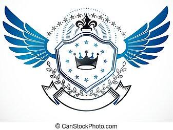 weinlese, dekorativ, geflügelt, emblem, gelassen, gebrauchend, lilie, blume, monarch, krone, und, sternen, ritterwappen, vector.