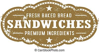 weinlese, deli sandwich, zeichen