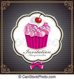 weinlese, design, schablone, cupcake