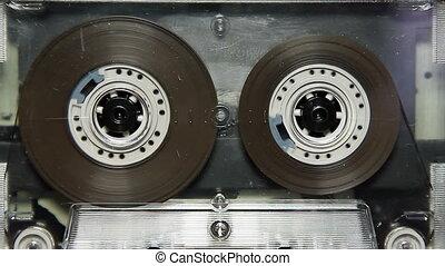 weinlese, durchsichtig, audiokassette, in, der, deck