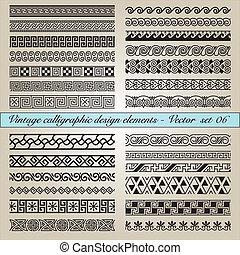 weinlese, elemente, design, calligraphic