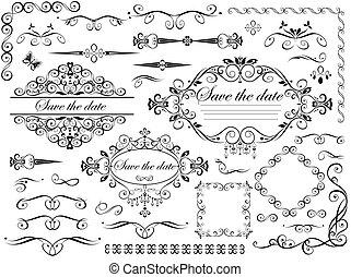 weinlese, elemente, design, wedding