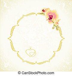 weinlese, etikett, orchidee, gelber , vector.eps