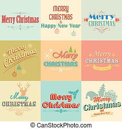 weinlese, etiketten, retro, frohe weihnacht