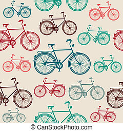 weinlese, fahrrad, elemente, seamless, pattern.