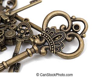 weinlese, fantasie, ausführlich, goldenes, schlüssel