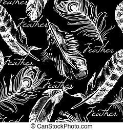 weinlese, feder, seamless, pattern., hand, gezeichnet,...