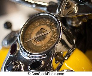 weinlese, fokus, weich, geschwindigkeitsmesser, motorrad