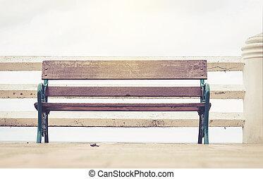 weinlese, foto, von, einsam, bank, park