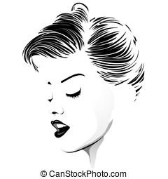 weinlese, frisur, kurzes haar