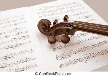 weinlese, geige, basierend, aus, musik- kerben