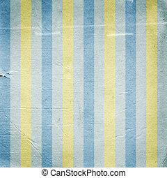 weinlese, gelber , blaues, gestreift, papier, hintergrund