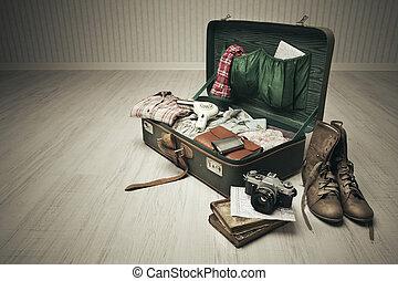 weinlese, gepackt, koffer