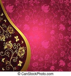 weinlese, gold-purple, karte