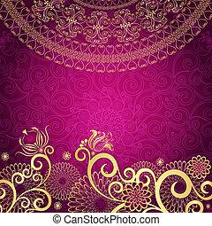 weinlese, gold-purple, rahmen